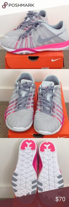 Nike Free Train Light and comfy. Brand new, never worn!! I would keep these but my feet grew a whole size up during pregnancy. Super cute for the gym, running on the streets, and running errands!  Color described as platinum, with purple and pink accents. Nike Shoes Athletic Shoes