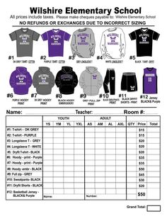 Example T Shirt Order Form  Google Search  Football  Cheer