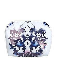 """If Alice had a world of her own, everything would be nonsense. While that may sound great in theory, we bet it makes getting ready in the morning a little bit difficult. Stay organized in this world or that one with this Alice in Wonderland makeup bag featuring watercolor artwork inspired by the classic! <div><ul><li style=""""list-style-position: outside !important; list-style-type: disc !important;"""">8"""" x 5"""" x 2 1/2""""</li><li style=""""list-style-position: outside !important; list-styl..."""