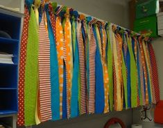 Make this simple no-sew valance with strips of ribbon.
