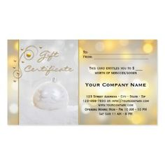 gift certificate template in business card size featuring a silver christmas bauble and sparkling gold and