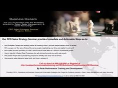 Sales Training Seminar Register for the CEO Sales Strategy Seminar - YouTube
