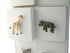 Kids Safari Bedroom Giraffe and Rhino Animal Drawer Knobs