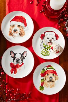It doesn't matter what you serve this holiday season, Pier 1's adorable Christmas Puppies Salad Plate Set will bring a smile to any dog-lover's face. Made from porcelain, the set makes a great collectible, too.
