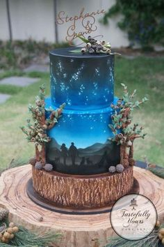 outdoor cake with starry skies - just beautiful for a rustic wedding!