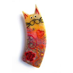 Cat brooch ELISA - Unique Art Brooch - polymer clay kitty, orange... ($47) ❤ liked on Polyvore