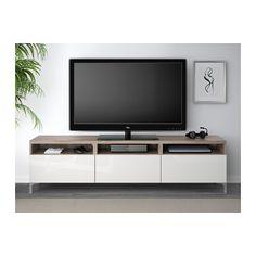 BESTÅ TV unit with drawers - walnut effect light gray/Selsviken high-gloss/white, drawer runner, push-open - IKEA