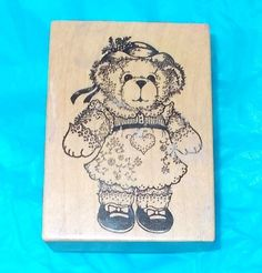 PSX F-599 Girl Teddy Bear rubber stamp wood mounted dresses teddies in dress hat #PSX #TeddyBears