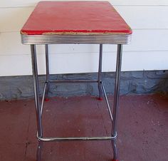 vintage red vinyl chrome bistro table retro bar height counter top ...