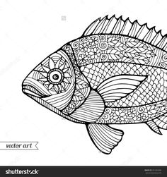 Zentangle fish pattern http://image.shutterstock.com/z/stock-vector-fish-ornamental-graphic-fish-floral-line-pattern-vector-zentangle-coloring-book-page-for-adult-351364286.jpg
