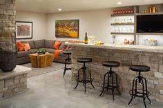3 Awesome Cool Ideas: Hidden Basement Storage basement remodeling on a budget shower tiles.Finished Basement Flooring basement remodeling on a budget. Basement Bar Plans, Basement Bar Designs, Basement Layout, Modern Basement, Basement Bedrooms, Basement Renovations, Basement Ideas, Kitchen Designs, Basement Bathroom