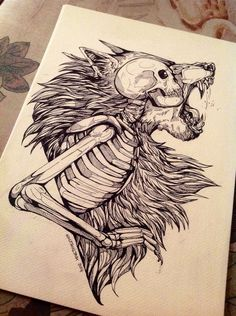 I want a tattoo similar to this, at least element wise, but I want the wolf to be a fox and the skull to be a specific female anime character I love....
