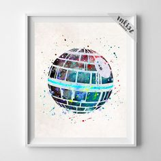 Death Star, Star Wars Watercolor Art Print. Prices from $9.95. Available at www.InkistPrints.com - Star Wars, Wall Art, Home Decor, Nursery Gift, Giclee Art, Print, Poster, Baby Boy Decor, Christmas Gift, Baby Shower Gift, Kids Art, Watercolor Painting