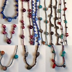New Simple Strands necklaces headed for @yellowdoorartmarket tomorrow. So easy to wear- no clasp, wear them long or looped around your neck a few times. $20.  #crochetjewelry #crochetnecklace