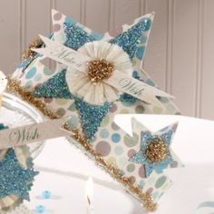 Turquoise Glitter Star Make a Wish Paper Crowns.