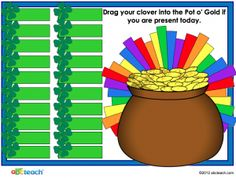 FREE St. Patrick's Day attendance template for your smartboard! Assign each student a clover to drag into the Pot o' Gold
