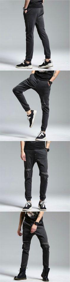 Free Delivery 2017 Mens Jeans Stretch Denim Pants Men's Pencil Jeans Casual Hole Slim Fit Jeans Trousers