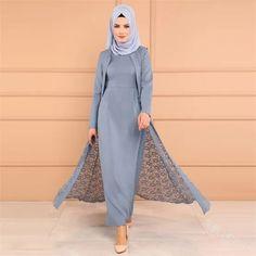 Modest lace sleeveless coat and long sleeve abaya dress. Abaya Style, Hijab Style, Muslim Women Fashion, Islamic Fashion, Plus Size Maxi Dresses, Modest Dresses, Abaya Fashion, Fashion Outfits, Modest Fashion
