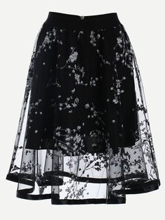 To find out about the Blossom Print Mesh Overlay Midi Skirt - Black at SHEIN, part of our latest Skirts ready to shop online today! Midi Flare Skirt, Black Midi Skirt, Flared Skirt, Long A Line Skirt, Long Skirts, Summer Skirts, Jupe Short, Calf Length Skirts, Floral Print Skirt