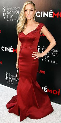 KRISTIN CAVALLARI The new mom sizzles on her first red carpet since giving birth to son Jaxon in May in a figure-hugging garnet Zac Posen gown at the International Fashion Film Awards in Beverly Hills.