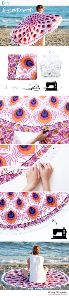 DIY serviette de plage ronde // DIY mandala beach towel // Mandala yoga mat // DIY hippie mandala circle towel / Peacock fabric