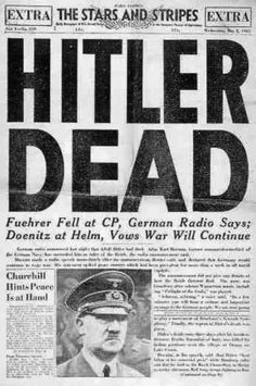 Front page of the Stars and Stripes Newspaper. Hitler was found dead after most of the land was rescued