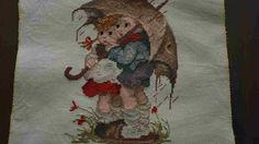 Dit is een werkje van hummeltjes onder de #paraplu, de tekening is 15 cm op 22 cm groot, en de doek is 29 cm op 33,5 cm groot.