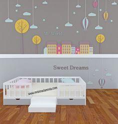 Montessori Yer Yatağı Altı Çekmeceli Ortası Merdivenli