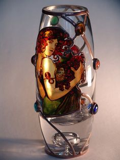 """10"""" x 5"""" (260 mm x 120 mm) Massive, glass, bright, hand-painted decorative vase, product of Czech glass factories. Precise copy of Mucha's artwork. Special glass paints and their fusing on the surface of glass in kiln guarantee durable and everlasting quality of each copy."""
