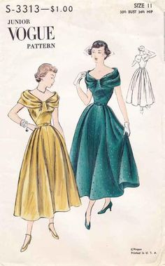 Vogue Special Design Cocktail Dress Bust Still in factory folds Circa 1949 Source by dress drawing Vintage Fashion 1950s, Mode Vintage, Retro Fashion, Steampunk Fashion, Gothic Fashion, Fashion Fall, Vintage Outfits, Vintage Inspired Dresses, Vintage Dresses