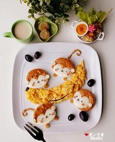 4 little monkeys food art by ilisaliu (@ilisa_liu)