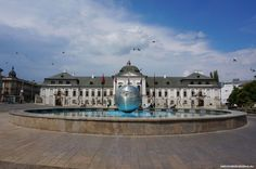 Known as Slovakia's White House, Grassalkovich palace is the official seat of the president of Slovakia. Its large French garden which is one of the most po Bratislava, Palace, Louvre, Mansions, House Styles, Building, Was, Travel, Decor