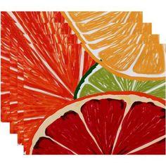 Simply Daisy 18 inch x 14 inch Lemonade Geometric Print Placemat (Set of 4), Orange