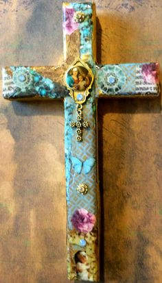 Cross - mixed media cross - collaged cross - Virgin Mary Cross - blues and golds on cross - catholic art - religious art - home decor - ooak by DianaDDarden on Etsy