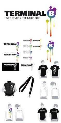 """Freelance Auftrag: Logo für die LGBT-Eventreihe """"Terminal B"""" mit verschiedenen Anwendungs-möglichkeiten und Platzierungen auf Werbemitteln. Terminal, Map, Logo, Random Stuff, Logos, Location Map, Maps, Environmental Print"""