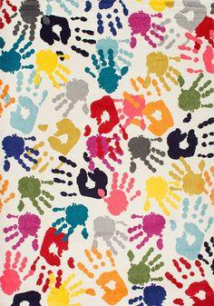 nuLOOM Handprint Nursery Kids Area Rug, 5' x 8', Multi - 3' x 5'