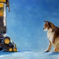 Hand-painted Animal Oil Painting - Cat