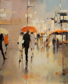 new paintings from Lorraine Christie at Huff Harrington Fine Art Figure Painter, Art Painting, Fine Art, Rain Art, Impressionist Paintings, Cityscape Painting, Umbrella Art, Abstract Expressionism Painting, Long Painting