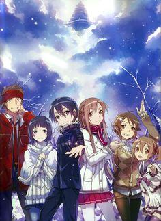 Sword Art Online, Klein, Sachi, Kirito, Asuna, Lizbeth  Silica, by abec