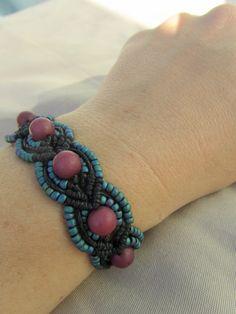 Hemp Macrame Bracelet with Glass and Buri  by PerpetualSunshine111, $26.00