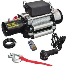 Treuil électrique 12V Traction Télécomandes dont 1 sans fil+ Câbles - 210022 - Outillage