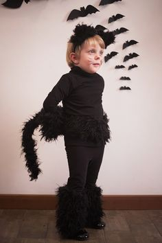 DIY black cat kid costume for carnival or halloween #FW15 #fall #winter…