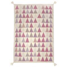 Wollteppich \'Dreiecke\' natur/lila/rosa