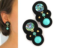 Vibrant jewelry Turquoise Earrings turquoise clip on earrings Trendy Soutache Jewelry turquoise orecchini spring trends Unique Earrings, Diy Earrings, Clip On Earrings, Fashion Earrings, Soutache Jewelry, Beaded Jewelry, Handmade Necklaces, Handmade Jewelry, Honey Bee Jewelry