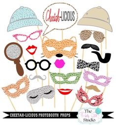 21pc * Cheetah Licious Photo Booth Props/ Safari Photobooth Props/ Jungle Props - DIGITAL FILE by ThePartyGirlStudio on Etsy