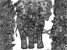 Zentangle elephant.