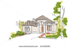 Real Estate Vector Illustration. House Freehand Drawing on White Background.