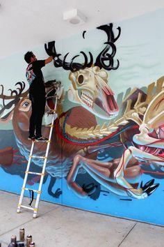 Nychos born in 1982 in Styria is an Austrian urban artist & graffiti illustrator.#mural #Nychos