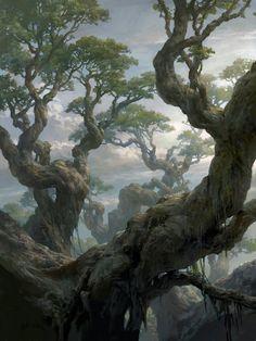 Magic the Gathering: Basic Lands, Tianhua Xu - Fantasy Concept Art Landscape, Fantasy Art Landscapes, Fantasy Landscape, Landscape Art, Fantasy Artwork, Fantasy Concept Art, Fantasy Places, Fantasy World, Magic The Gathering