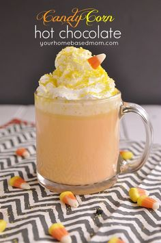 In true Halloween fashion, host a scary movie night with your friends and serve this Candy Corn Hot Chocolate as a fun and easy treat!